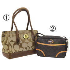 Auth COACH Signature Hand Bag Cross Body 2 Set Brown Canvas PVC Leather V31165