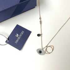 Swarovski * Duo Evil Eye Pendant Blue 38cm Rose Gold Chain Necklace COD PayPal