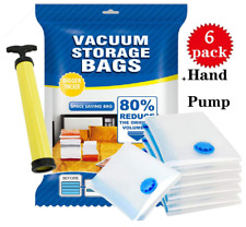 6 pcs Vacuum Storage Bags Hand Pump Travel Space Compress clothes sealer Saver