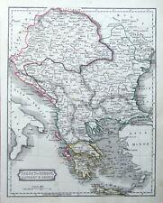 GREECE,HUNGARY,TURKEY,CROATIA,SERBIA, BOSNIA,  D.Blair original antique map 1850