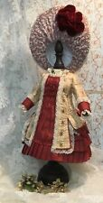 Beautiful French style couture doll dress and hat in antique silk brocade