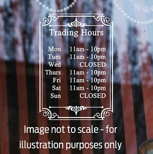 400mm Trading / Business / Opening hours decal sticker for shop window