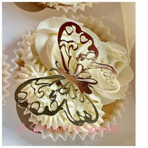 6 BUTTERFLY CUPCAKE SIZE GLITTER FOIL MIRROR CAKE CUPCAKE TOPPERS TOPPER