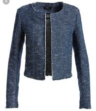 NWT $395 Sz 4 Theory Ualana Raw Edge Tweed Jacket in Navy Blue