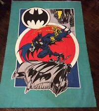 Vtg DC Comics Blanket Throw Comforter Batman Batmobile HTF Rare Burton HUGE !!!!