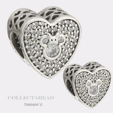 Authentic Pandora Silver Mickey and Minnie Sparkling Heart CZ Bead 792049CZ