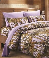 Cal King LAVENDER CAMO Sheet Pillowcases Set 6 PC Camouflage THE WOODS
