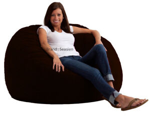 """1 PC Brown Velvet Bean Bag Cover Large 44"""" x 44"""" x 24""""(inch) [Without Beans]"""