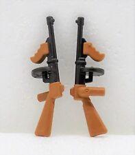 2 x MASCHINENGEWEHR THOMPSON PLAYMOBIL Tommy Gun Gewehr zu Soldat Gangster 9443
