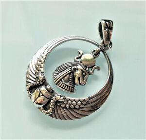 Sekhmet Lioness Goddess Pendant 925 Sterling Silver God of Egypt Lion Scarab Sna