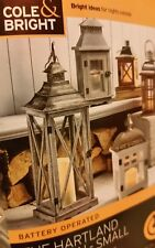 Candle Lantern battery operated- Cole & Bright ☆ New - Silver☆Light - candle☆