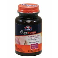 Elmers Fast Dry Non-Wrinkle Waterproof Rubber Cement With Brush In Cap, 4 Oz