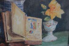 J. Lépée  -  Stilleben mit Stundenbuch und gelber Rose - Aquarell