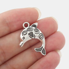 20pcs Antique Silver Alloy Cute Dolphin Charms pendant Jewelry Findings 23*11mm