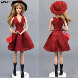"""Classical Doll Dress For 11.5"""" 1/6 Doll Clothes Outfit Gown Hat Bag Shoes Boots"""