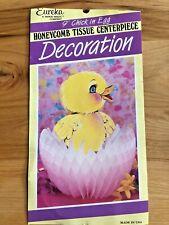 "Vintage Paper Eureka Easter 9"" Chick in Egg Honeycomb Decoration - Duck Usa"