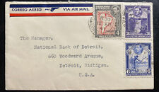 1941 Barclays Bank In British Guiana Airmail Cover To Detroit MI USA