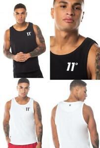 11 Degrees T Shirt Mens Top Sleeveless Vest Top Crew Neck Casual Black White NEW
