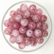 NEW 30PCS 8mm Glass Round Pearl Spacer Loose Beads Pattern Jewelry Making 04