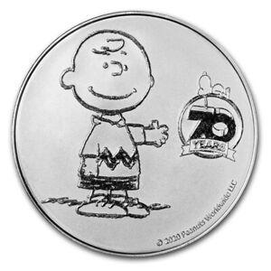 2020 Silver 1 oz Peanuts Charlie Brown 70th Anniversary BU