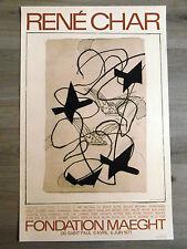 Georges BRAQUE René CHAR Affiche LITHO 1971 CUBISME POÉSIE Maeght Vintage poster