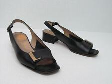 vtg Salvatore Ferragamo Black Leather Slingback Sandals Signature Women's 8B