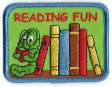Girl Boy Cub Reading Fun Bookworm Patches Crests Badges Scouts Guides Book