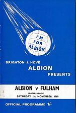 Football Programme>BRIGHTON & HOVE ALBION v FULHAM Nov 1969