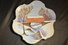 "Vintage Japan Pottery Hand Painted 8.5"" 3D Winter Wood Barn Art With Gold Trim"