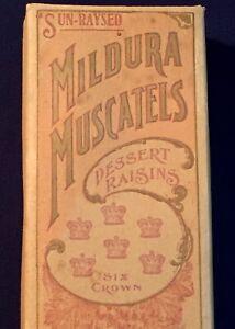 Vintage Antique Mildura Muscatels Raisins Cardboard Box Imperial 1 lb Complete