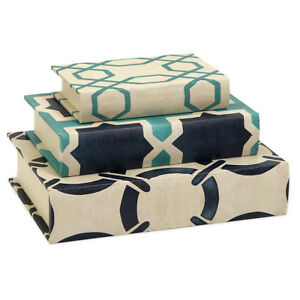 IMAX 68035-3  Hadley Book Boxes Set of 3 NEW IN BOX Ivory & Blue