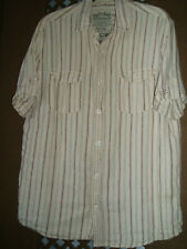 Mens Large Next linen short sleeved camel/brown striped shirt - see pics/details