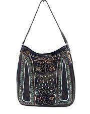Kippys (Gypsy) Leather Handbag Purse w/ Crystals & Spikes - Black & Turquoise
