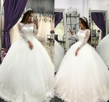 2020 Long Sleeves Ball Gowns Appliques Lace Wedding Dresses Customized Size 2-28