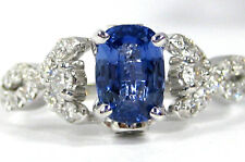 BLUE Sapphire Ring 14K white gold Pave Cross Over CERTIFIED Heirloom $4,945