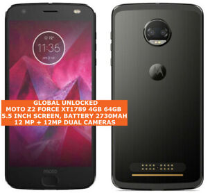 MOTOROLA MOTO Z2 FORCE XT1789 Unlocked 4gb 64gb Dual Cmaeras Single sim Android