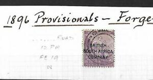 RHODESIA, 1896 CAPE OVPTS, 6d SG 63 USED , FOURNIER FORGERY.
