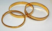 Vintage Lot of 3 signed MONET Goldtone Bangle BRACELETS costume jewelry bracelet