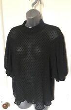 Zara black Spot Chiffon Crinkly Puff Sleeve top  , size L 14 NEW