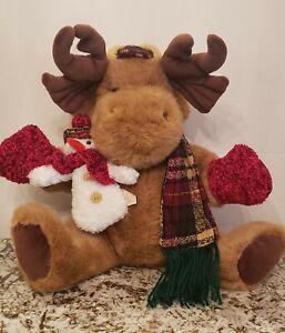 Moose Stuffed Plush Animal 18 inch Snowman Brown Dan Dee Christmas Scarf