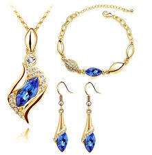 Diamante Set Gioielli BLU REALE & Oro Orecchini a goccia Collana, Bracciale S793