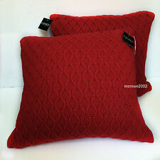 Ralph Lauren RED Toss Deco SET 2 FEATHER THROW PILLOWS Cotton CABLE SWEATER KNIT