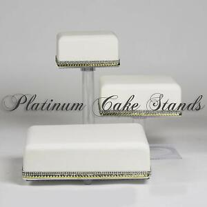 3 TIER SQUARE CASCADE WEDDING CAKE STAND (STYLE SQ308)