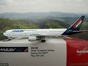 Herpa Wings 1:500 boeing 767-300 malev airlines ha-lhc 534185 modellairport 500