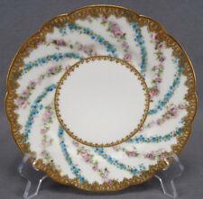 Antique Haviland Limoges JE Caldwell Pink Rose Blue Floral & Gold Dessert Plate