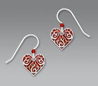 Sienna Sky Red HEART Silver Filigree Overlay EARRINGS Sterling Dangle - Boxed