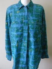 1980s SHIRT BLOUSE Turquoise Green Yellow Abstract West Germany Oversized  Sz 14