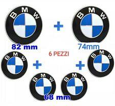 kit 6 Pezzi Stemma Emblema Cofano 82mm + 74mm + 4x Logo BMW coprimozzo 68mm