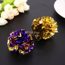 12pcs Small Mylar Balls Shiny Crinkle Cat Pet Lightweight Play Gift CA