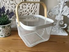 Cream Mesh Basket with Wooden Handle Food / Home Storage Home Decor